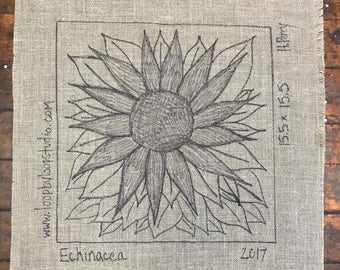 Echinacea  - Original Hand Drawn Rug Hooking Pattern on Your Choice of Foundation