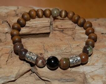 Mens Bracelet Ocean Jasper Black Tourmaline Mala Bead Bracelet for Men Grounding Jewelry for Men Gift Ideas for Him Mantra Meditation