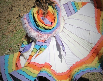 AVAILABLE NOW!!!! Unicorn Pastel Rainbow Spiral Patchwork Gipsy Coat