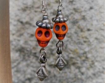 Day of the Dead Mexican Orange Howlite Fiesta Skull Gemstone Earrings Frida Kahlo inspired