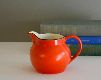Vintage Orange Pitcher - Made in Czech Vase Creamer Pottery Orange White Black Mid Century