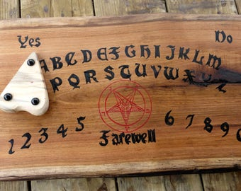 Ouija Board Baphomet Goat Head Pentagram Star Pentacle Pagan Wiccan Seance Gothic Symbol Scary Blood Red Occult Paranormal Divination Wooden