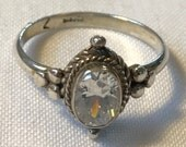 Sterling Silver Clear Stone Ring-Size 7