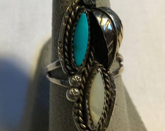 Vintage Sterling Silver Turquoise And Pearl Ring-Size 8 3/4