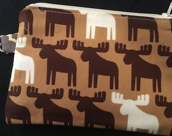 Brown Moose Zippered Pouch with Swivel Clip - coin purse, wallet, stocking stuffer, notions bag