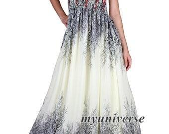 Maxi Dress Chiffon Bridesmaid Dress Women Prom Long Evening Beach Party Coast Fancy Dress