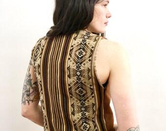 Vintage 70s Ethnic Woven Earthtone Vest