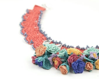 Collar Necklace-Handmade Crochet Lace Coral Necklace with Crochet Rose & Bell Flower, Crystal Beaded Statement Necklace, Textile Jewelry