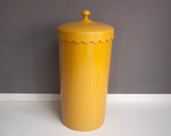 Vintage Yellow Scalloped Clothes Hamper