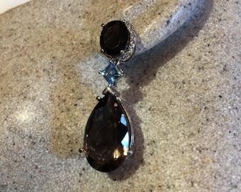 Vintage handmade brown smoky topaz 925 sterling silver drop chandelier earrings