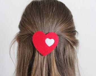 Love Heart Hair Clip - Heart Hair Clip - Glitter Hair Clip - Valentines Gift - Ready to ship