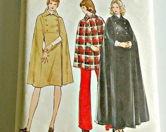 Vintage 1970s Butterick 6861 Double Breasted Cape Cloak Pattern  Size 10