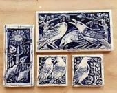 Crow tiles in cobalt blue reserved for Valerie
