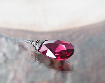 Deep Pink Swarovski Crystal Necklace Large Drop Necklace Crystal Jewelry Birthday Gift For Her Wire Wrapped Crystal Jewelry Pendant Necklace