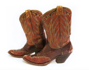 Vintage Two Tone Leather Cowboy Boots