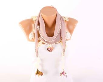 Summer scarf boho fringed oya  scarf  , guipure scarf, ,tan