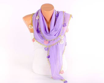 Turkish oya scarf , turkish yemeni , summer scarf with hand crocheted lace circles and tassel ,lavender