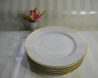 5 Vintage Bavaria China Dinner Plates, The Baronial