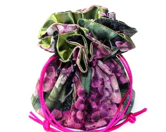 Drawstring Jewelry Bag Pouch - Jewelry organizer - Hydrangea in green, magenta pink and black travel bag