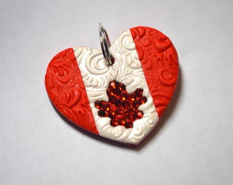 Heart-Shaped Canada Day Pet Tag / I.D. Tag / Dog Tag - Don't forget to ask about 'at par' pricing if you have a Canadian address!