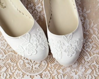 Wedding Flat Shoes Ivory Satin Bridal Ballet Flats with Lace Guipure Bride Engagement Special Night Size 9 (US)