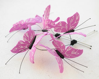 Purple Butterflies Hair Pins Set Hairpins Accessory Decoration Butterflies Hair Piece Headpiece Bridal Wedding Birthday Valentines