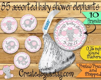 85 Chocolate kiss stickers Elephant baby girl shower stickers Elephant Chocolate Stickers Baby Elephant Kisses Labels Thank you Party Favors