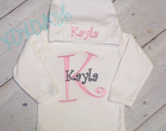 Initial and Name Gift Set--Bodysuit or Infant Gown AND Infant Cap--Girl Curlz in Light Pink and Grey- baby shower gift going home outfit