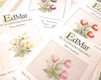 3 Jasmines...EdMar kit...Brazilian embroidery