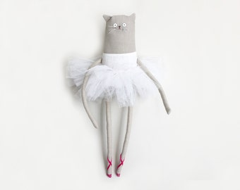 Ballerina Cat Doll, OOAK Art Doll Wall Art, OOAK Soft Sculpture, Ballerina Doll Soft Sculpture, Gift for Cat Lover, Nursery Wall Art, Poosac
