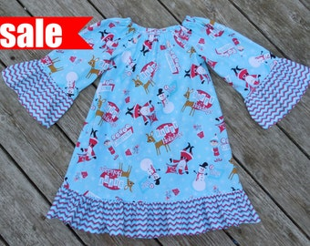 Year End Clearance SALE - Girl's Red and Aqua Christmas Peasant Dress - Ready To Ship Size 3T