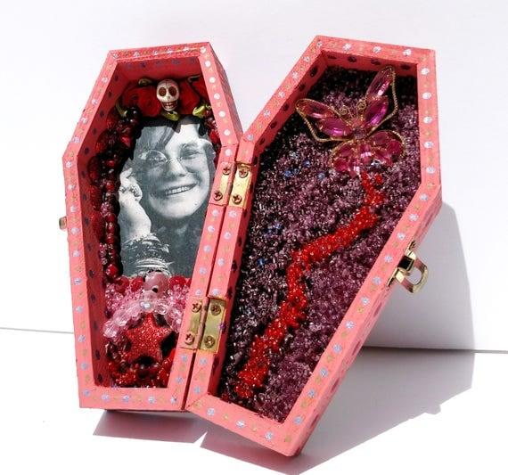Janis Joplin Coffin Shrine Altar Box - One of a Kind Mixed Media Art