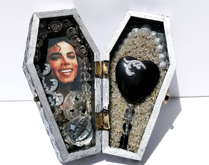 Michael Jackson Coffin Shrine Altar Box - One of a Kind Mixed Media Art