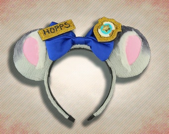 Police Bunny Mouse Ear Headband with Bow