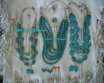 Turquoise Statement Necklace & Earring Set ~ Native Santa Fe Southwest 3~5 Strand Necklace Set ~ Magnasite ~ Mothers Day ~ Cowgirl Tribal