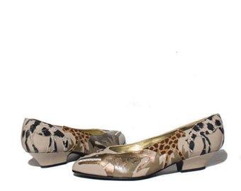 SALE 8 M   ZALO Kitten Heel Shoes Leopard Jungle Print Outlay Beige & Brown Leather Women's Flats