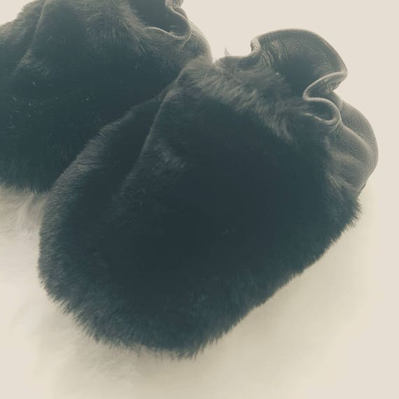 Real Leather Sole and Faux Fur Baby Booties Shoes