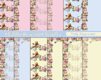 """Digital Download Shabby Pastel Blue Pink Yellow Cherub Angels Shabby Roses Chic 12""""x12"""" Paper Pack Vintage Backgrounds Scrapbooking Clipart"""