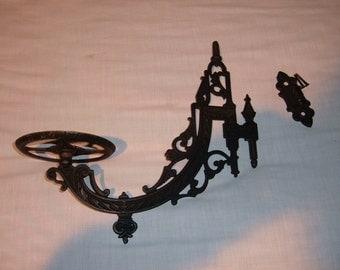 Vintage Black Wall Bracket Oil/kerosene Lamp Holder-#40