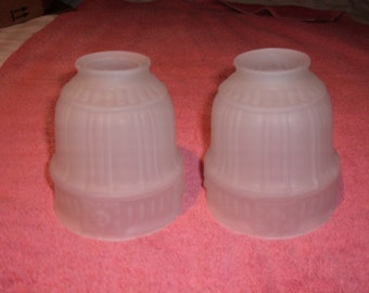 "2 Vintage Matching Satin Finish Glass Lamp Shades-2 1/4"" Fitter-#53"