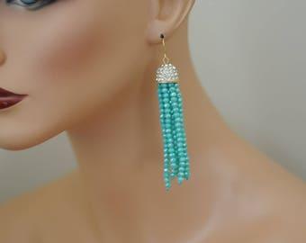 Tassel earrings, Latest Fashion, Faceted Turquoise bead Earrings, Dangle earrings, Long earrings, Gift for her, Drop Earrings