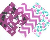 Quilt Square Clearance Grab Bag in Fun Puppy Dogs, Chevron and Pretty Flowers Matching Prints 50 Squares