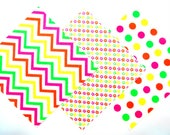 Quilt Square Clearance Grab Bag in Bright Neon Chevron, Tiny Stars and Dot Prints 50 Squares