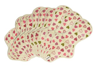 12 pieces cloth pads set / Cotton Cloth Sanitary Napkins with Leakproof - 3 Light day, 3 Regular, 3 Large & 3 Overnight pads (Pink Heart)