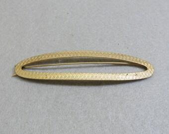Vintage Large Oval Golden Metal Hair Barrette