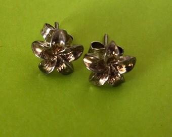 Plumeria Flower 9mm Sterling Silver Stud Post Earrings