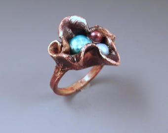 Electroformed Copper- Bird's Nest- Freshwater Pearls- Metal Art Ring- One of a Kind Sculpture- Pearl Ring