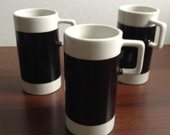 Alexander Girard Design for Braniff Airlines, 1st Class. 3 demitasse Cups. Porcelain. Mid century modern, Danish Modern, Eames era. 1960's.