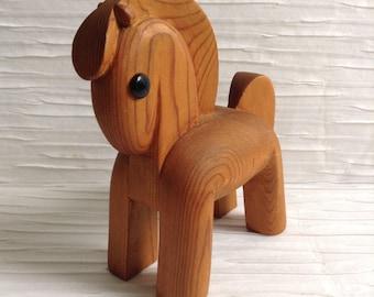 Wood Trojan or Dala Horse Figure. 1960's Vintage Modernist. Mod, Mid century, Danish Modern, Eames, Kay Bojesen, Hans Bolling  era.