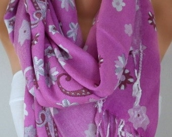 ON SALE - Pink Paisley Scarf,Spring,Easter, Oversized Shawl Cowl Scarf Bridesmaid Gift Gift For Her Women Fashion Accessories